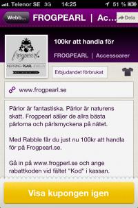 Nya kunder med Mobil kupong - 100kr att handla för på Frogpearl med Rabble