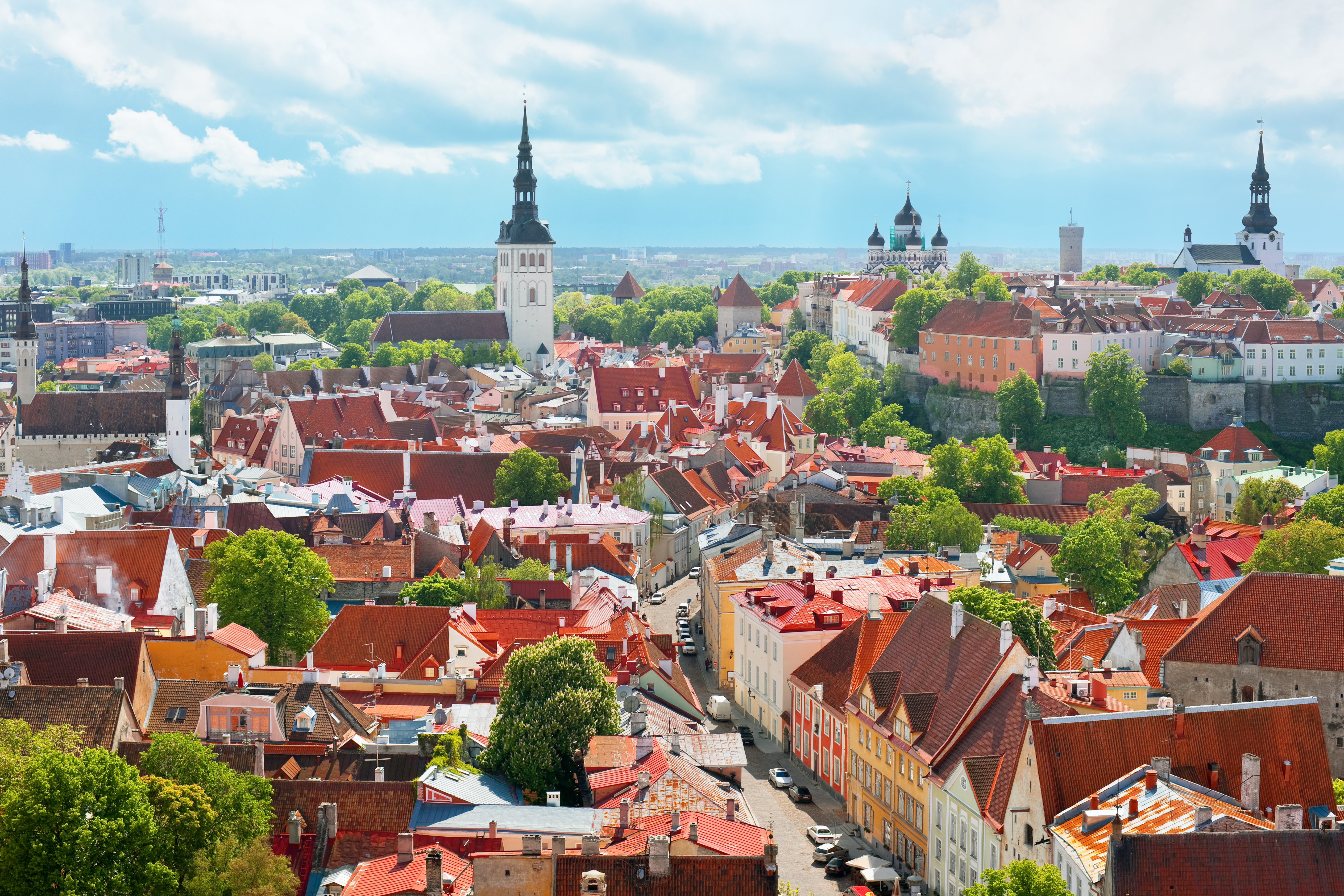 Panoramic view on the Old City of Tallin under the cloud sky; GPS information is in the file